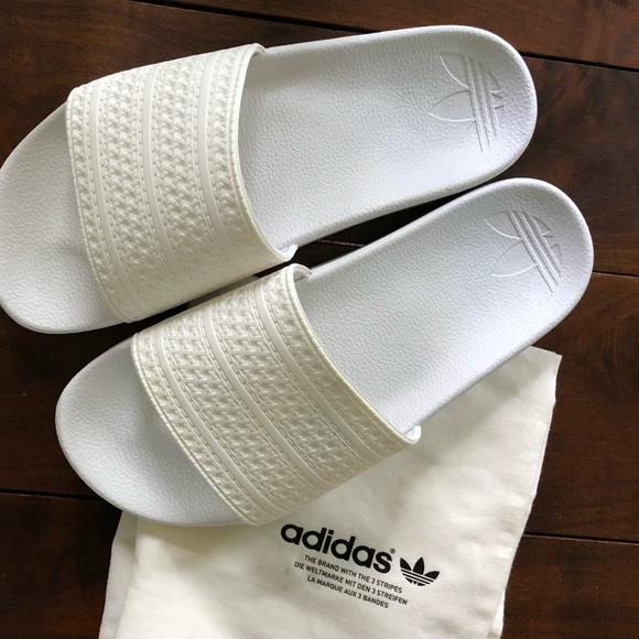 eb4e0eaf3 adidas Shoes | Custom Allwhite Adilette Slide Sandals | Poshmark